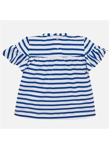 Mayoral Mayoral Kız Bebek Çizgili T-shirt Mavi
